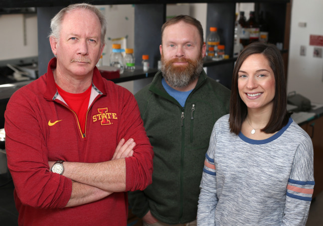 Iowa State researchers Kevin Schalinske, Matthew Rowling and Samantha Jones are working to improve the health of Type 2 diabetics by boosting vitamin D levels. Photo by Christopher Gannon
